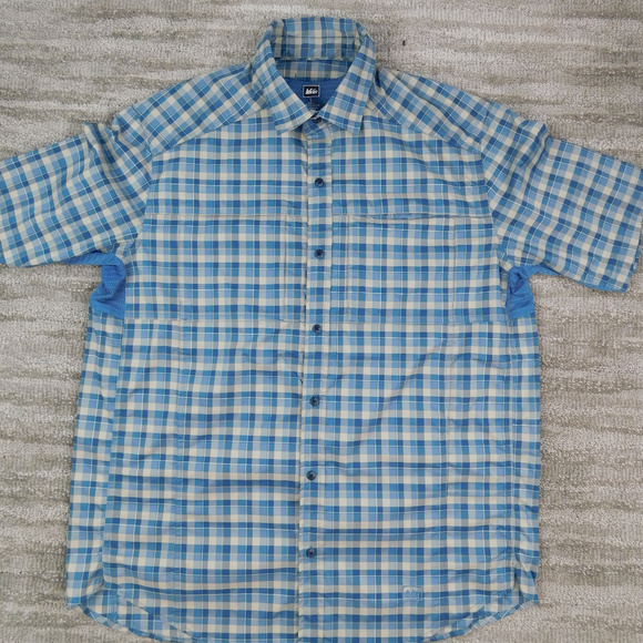 REI Other - Mens REI Blue Gray Plaid Vented Fishing Shirt